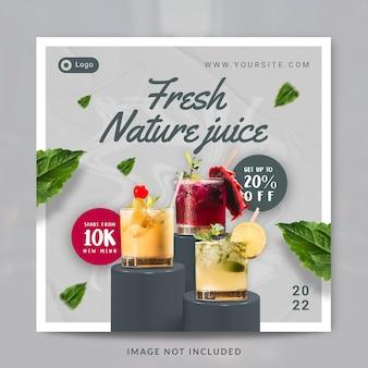 Suco natural fresco bebida menu promoção mídia social modelo de postagem ou banner