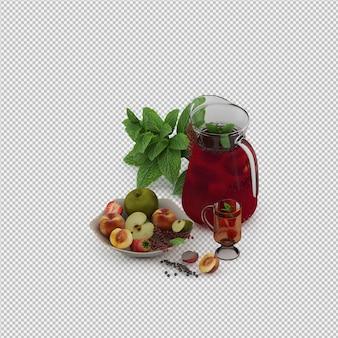 Suco vermelho com frutas 3d render