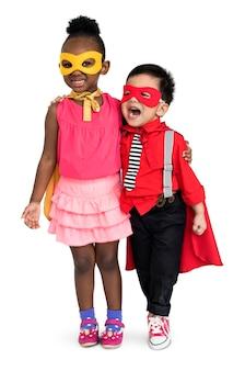 Super-herói, menino menina, traje, carnaval, equipe, conceito