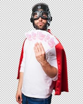 Super-herói, segurando, contas
