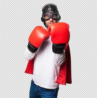 Super herói usando luvas de boxe