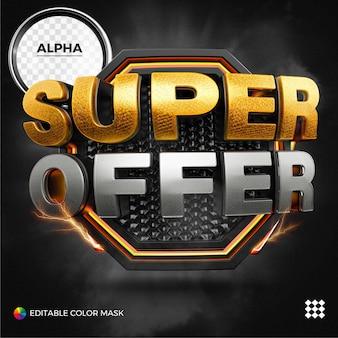 Super oferta 3d com néon isolado para composição