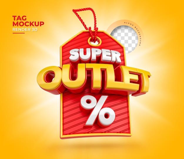 Super outlet 3d etiqueta por cento de compras realistas