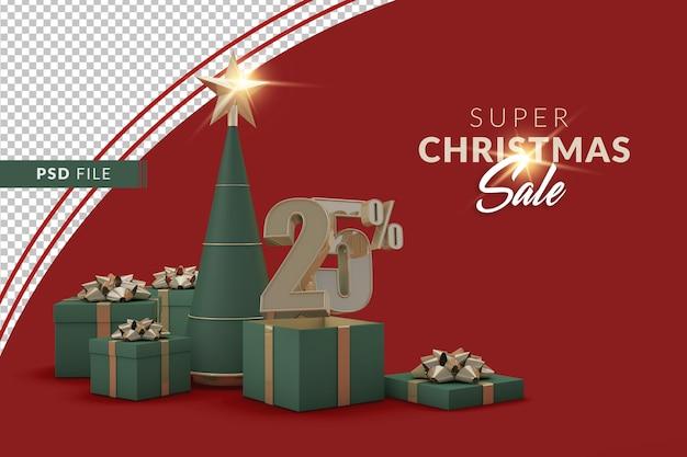 Super promoção de natal de 25 por cento com árvore de natal e caixa de presente