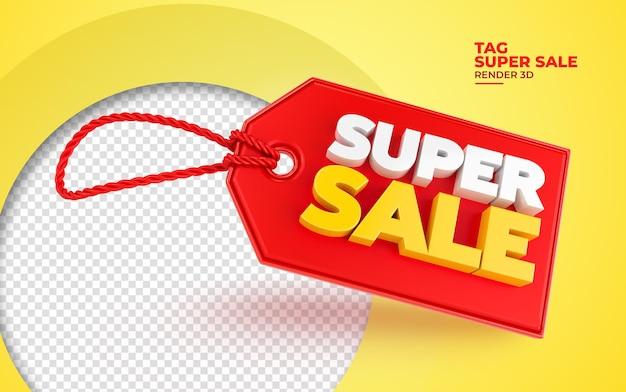 Super tag venda renderização 3d realista