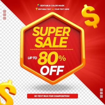 Super venda de caixa de texto 3d com até 80% de desconto