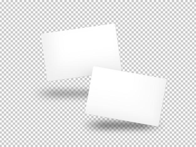 Superfície transparente de cartões de visita isolados