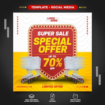 Supermercado de mídia social com oferta especial de até 70 de desconto