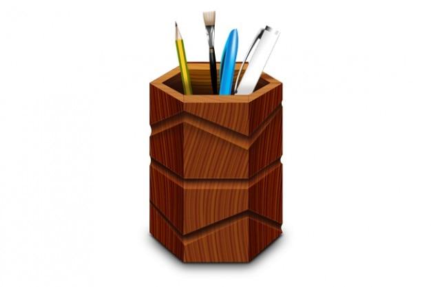 Suporte de caneta de madeira e ícones psd e png