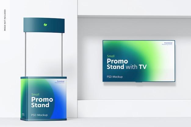 Suporte promocional pequeno com maquete de tv