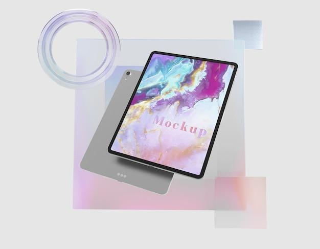Suporte transparente de vidro com tablet