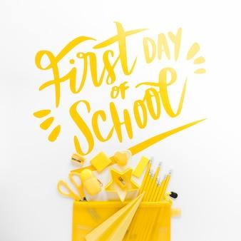 Suprimentos amarelos para o primeiro dia de aula