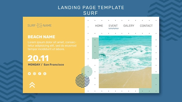 Surfing ad template landing page Psd grátis