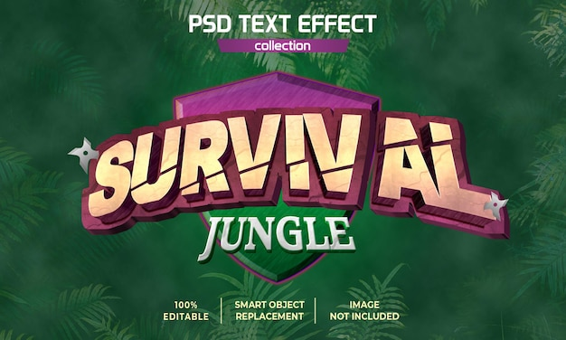 Survival jungle game arcade text effect