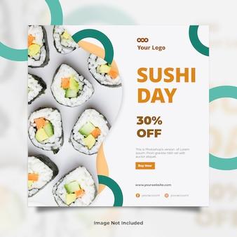 Sushi dia comida social media banner post