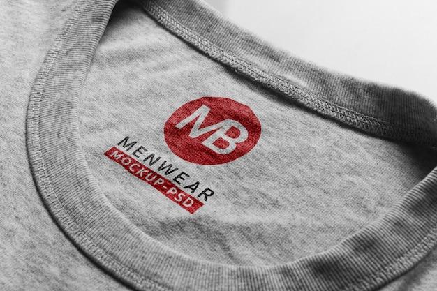 T-shirt pescoço logotipo maquete psd.