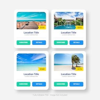 Tabela de plano de preços de viagens de verão