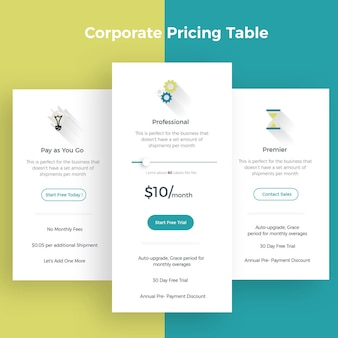 Tabela de preços corporativos