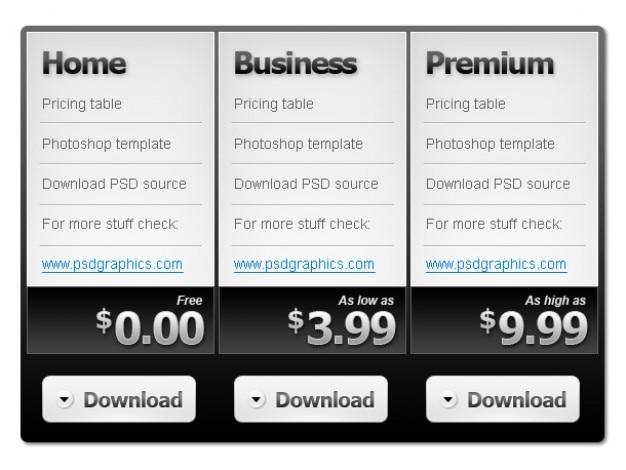 Tabela de preços em preto e branco psd template
