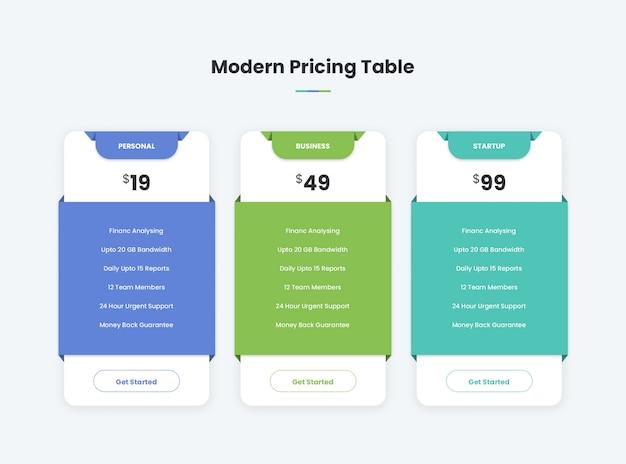 Tabela de preços moderna