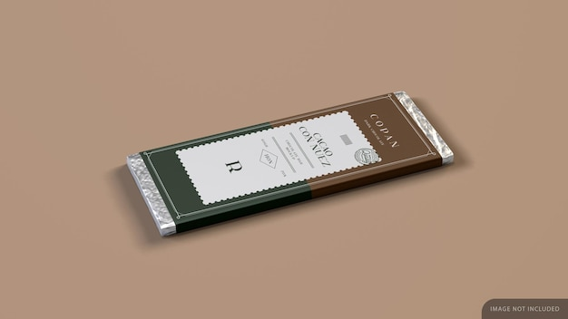 Tablet barra de chocolate com maquete de papel de embrulho em renderização 3d