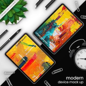 Tablet de maquete de dispositivo perfeito e criativo em pixel
