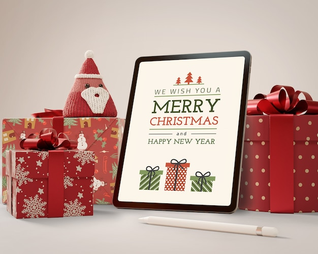 Tablet de mock-up com tema de natal