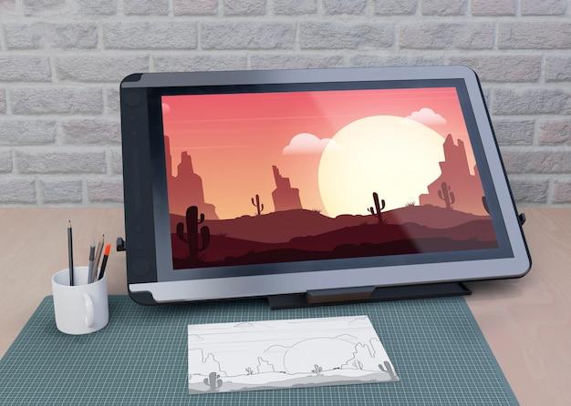 Tablet de mock-up de desenho na mesa