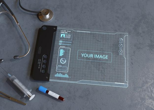 Tablet digital com aplicação médica.