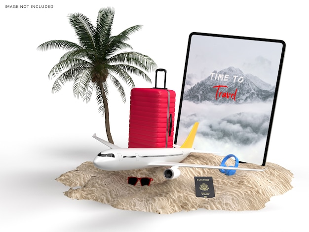 Tablet e mala com maquete de acessórios de viagem e avião