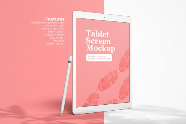 Tablet editável pro modelo de tela de dispositivo de 12,9 polegadas acima em perspectiva