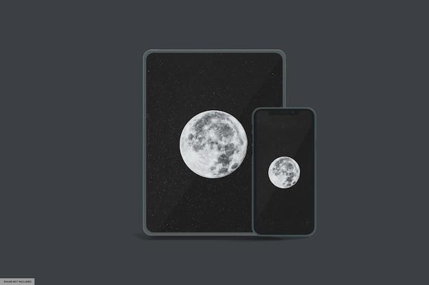 Tablet inteligente realista e maquete de telefone inteligente com luz escura