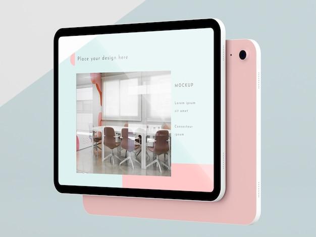 Tablet moderno de vista lateral com maquete de tela