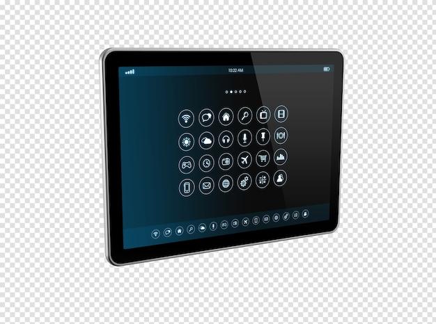 Tablet pc digital 3d com interface de ícones de aplicativos isolada