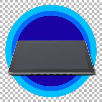 Tablet preto sobre fundo transparente