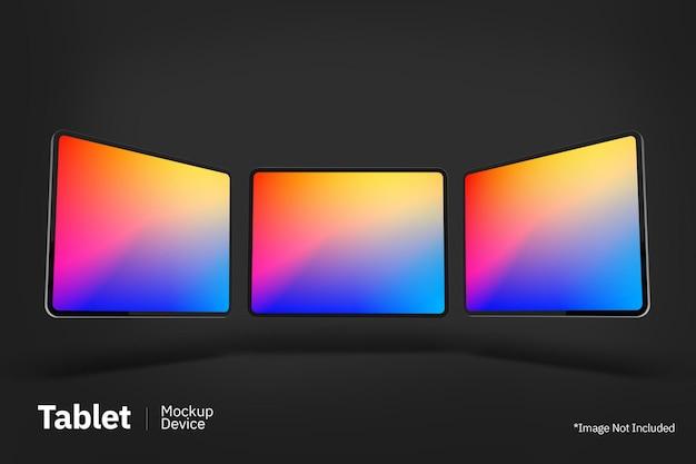 Tablet pro flutuante maquete vista frontal da tela Psd Premium