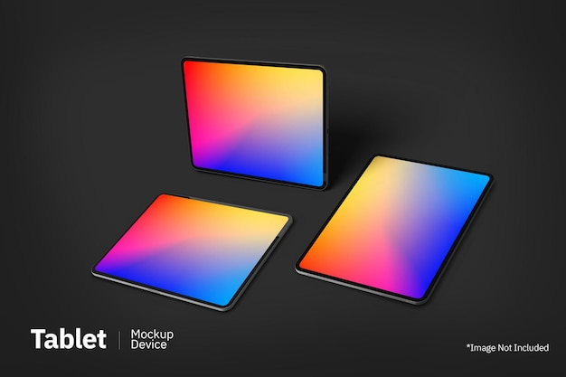 Tablet pro flutuante maquete vista frontal da tela
