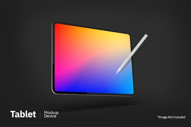 Tablet pro maquete flutuante com vista frontal de lápis