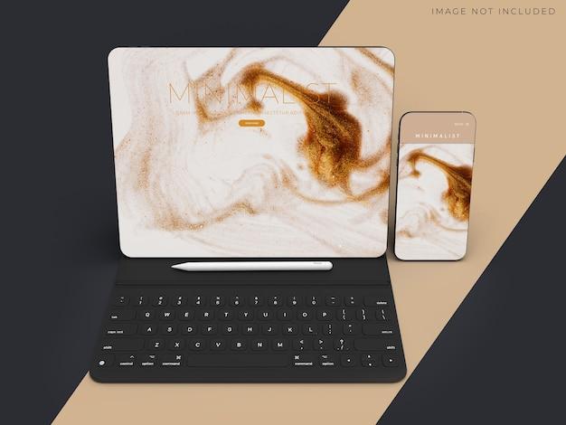 Tablet realista e maquete de telefone para a identidade da marca de negócios globais