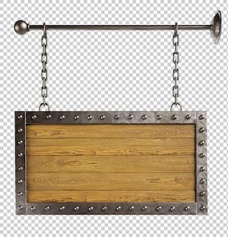 Tabuleta de madeira pendurada em correntes