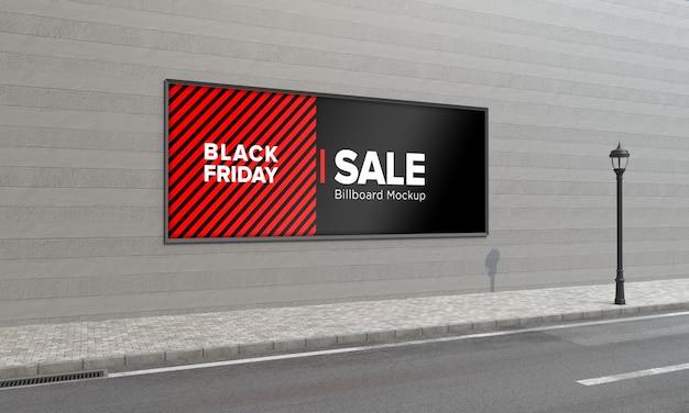Tabuleta na placa de wall street - maquete com banner de venda da black friday