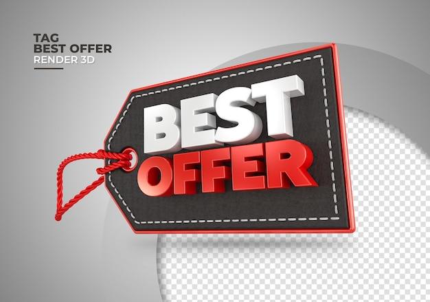 Tag de compra da melhor oferta renderização em 3d Psd Premium