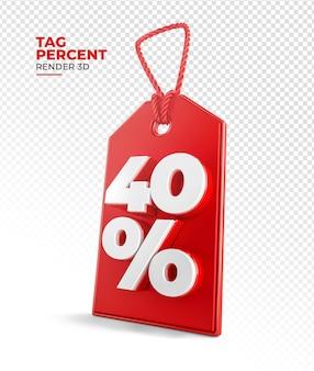 Tag de compra renderização 3d 40 por cento Psd Premium