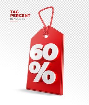 Tag de compra renderização 3d 60 por cento Psd Premium