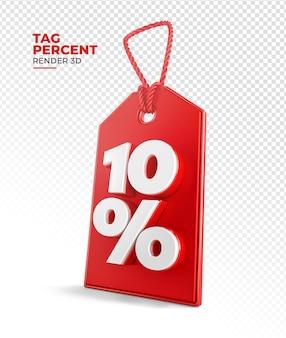 Tag de compra renderização 3d de 10 por cento