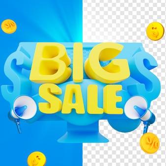 Tag de grande venda 3d