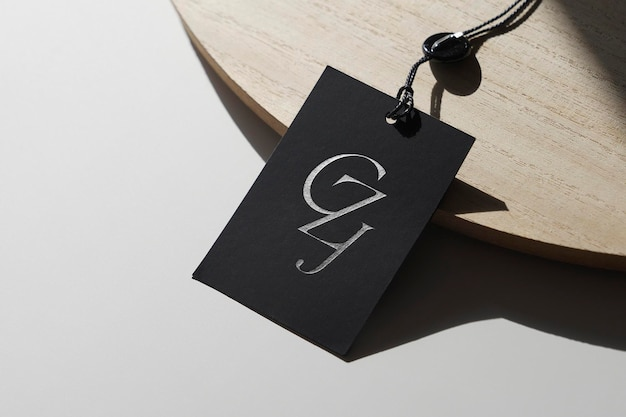 Tag de maquete preta do logotipo