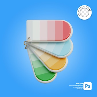 Tag do ícone da paleta de cores 3d