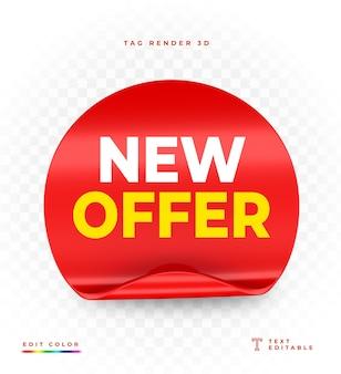 Tag new offer red renderização em 3d isolada