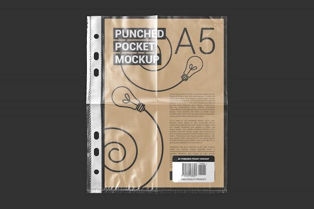 Tamanho de papel a5 em maquete de carteira de plástico